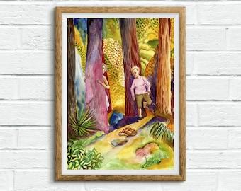 Watercolor Children Illustration/ Children Art / Kids Art / Watercolor Nature / Child painting / Cute painting - Hugging Trees