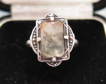 Art Deco Ring Statement Ring Sterling Silver With Moss Agate And Marcasite Size M US 6 1/2