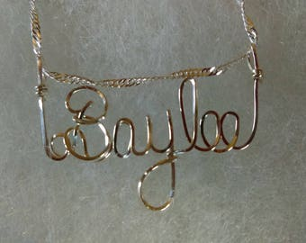 "Baylee or ANY name pendant Sterling Silver and  handmade for you!  Wire Name on 18"" chain ,PERSONALIZED"