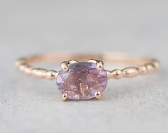 14k rose gold natural unheated lavender purple sapphire oval ring, unique dainty simple oval ring, can-r101-pu1 RTS