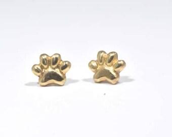 Gold Dog Paw Studs