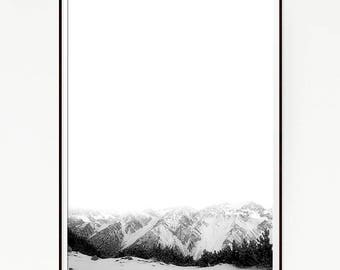 Mountains Print Poster Snow Wall Hanging Nordic Art Scandinavian Monochrome Black White Cloudy Wilderness Minimalist Wild Winter Fog 1051