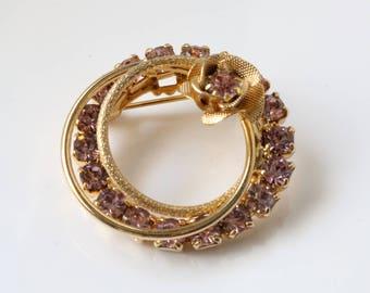 Purple Crystal Gold brooch - Gold Flower Brooch