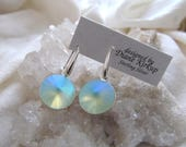 These Swarovski Crystal earrings are etherial, they are like washed glass - presented on sterling silver ear findings
