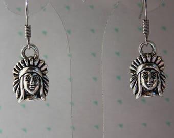 Earrings Indian silver metal