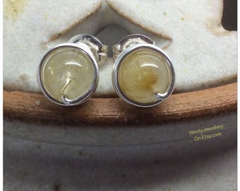 Golden Rutilated Quartz Wire Wrapped Studs Golden Rutilated Quartz Studs Golden Rutilated Quartz Posts Golden Rutilated Quartz Earrings UK