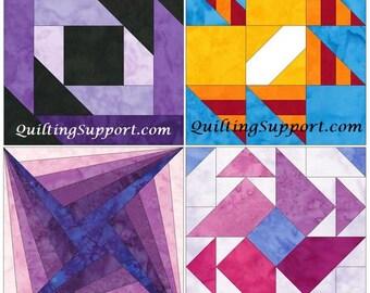 10 Inch HC Log Cabin Set 1 Paper Foundation Piecing Quilting 4 Block Patterns PDF