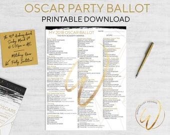 Oscar Ballot | The Academy Awards Party Ballot Game | Printable Instant Download