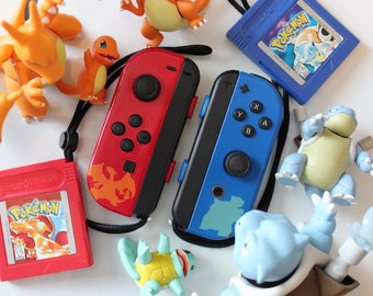 Nintendo Switch - Pokemon RED & BLUE Charizard / Blastoise - Custom Joy-Cons - Pokken - *Limited Run*