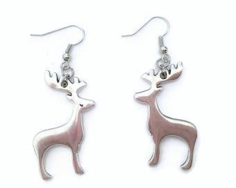 Cute Christmas Reindeer Dangle Drop Earrings in Tibetan Silver Look Boho Chic