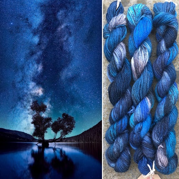 Night Sky Sparkle Sock 20g Miniskein, merino nylon yarn with silver stellina