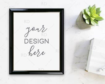 "Succulent Frame Mockup on Marble Desk / Styled Stock Photography / 8""x10"" Frame PSD smart object and PNG / Styled Desk with Frame For Art"