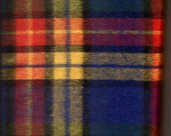 Large Plaid Brushed Wool Blend Fabric / 27 inches by 60 inches