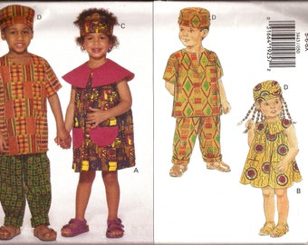 Rare Boy Girl African Tribal Costume Pattern / Butterick 3443 / Size 5-6-6x / Kwanzaa Children's Outfit