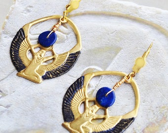 Egyptian Isis, Lapis lazuli and brass dangle earrings sleeper earrings