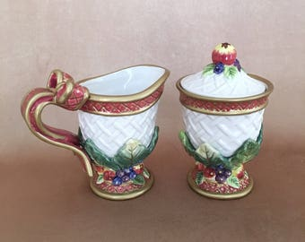 Fitz and Floyd, Holiday Swan, Sugar and Creamer, Holiday Set, Christmas Serving, New in Box, Vintage Fitz Floyd, Ceramic, Holiday Table