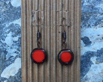 red czech glass earrings bohemian everyday earrings copper earrings Valentines earrings dangle earrings bright red earrings picasso grey