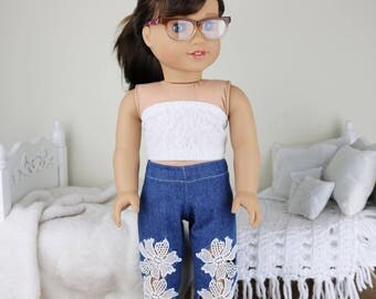 18 inch doll lace jeans | blue jeans