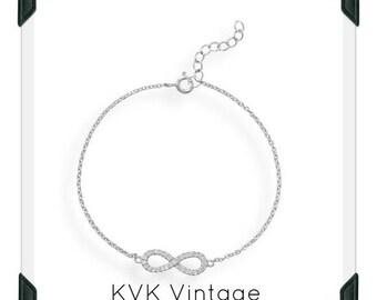 Rhodium Plated CZ Infinity Bracelet