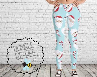 Santa Leggings womens leggings ladies leggings christmas leggings candy cane leggings teen leggings