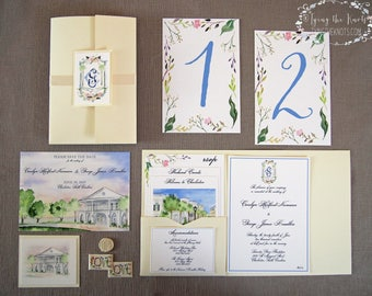 Formal Wedding Suite - Watercolor Wedding Invitations - Charleston Wedding - Lowndes Grove - Complete Wedding Suite - Plantation Wedding
