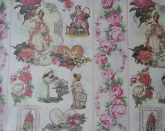 "Half Yard of Micci Collection by Yuwa Fabric Victorian Postcard Images on Creamy Pink Background. Made in Japan. Approx. 18"" x 42"""