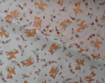 """Fat Quarter Bundle of Yuwa Atsuko Matsuyama 30s Collection Bambi and Floral in Light Salmon and Cream. Approx. 18"""" x 22"""""""