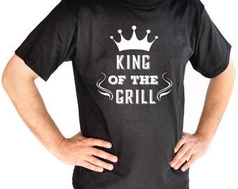 King of the Grill Tshirt for Men - Mens Black T-shirt Gift - Crown - BBQ - Cooking - Grilling Gift Idea
