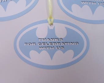 Batman Baby Shower Tags-Blue Batman Thank You Tags - It's A Boy Tags - PRINTED Batman treat tags-label- PERSONALIZED One of a Kind Tags