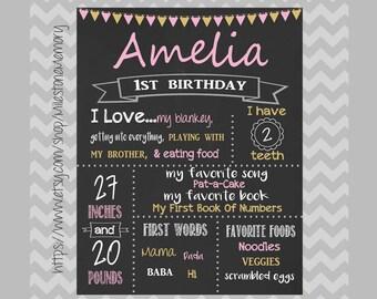 First Birthday Chalkboard, Chalkboard Birthday Sign, Personalized Poster, Pink & Gold, Birthday Chalkboard Sign