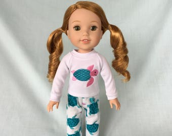 Sea Turtle Pajamas for Wellie Wisher/14.5 Inch Doll