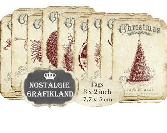Merry Christmas Tags printable Old Paper Joyeux Noel Instant Download digital collage sheet T200