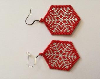 Red miyuki snowflakes Christmas earrings