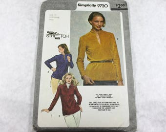 Sewing Pattern - Women's Pullover Top, A Time Saver Stretch-Knit Pattern, Simplicity 9720