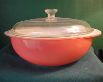 Vintage Pyrex Casserole Baking Dish, Pink Flamingo Dish With Clear Glass Lid