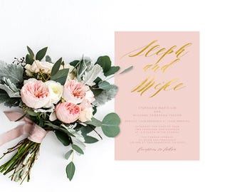 Blush and Gold Wedding Invitations - PRINTED