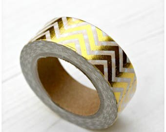 Gold Foil Chevron Washi Tape | Decorative Masking Tape | Gift Wrap | Presents | Adhesive | Sticky Tape | Planner | Diary | Stationery