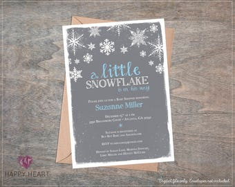 Little Snowflake Boy Blue Baby Shower Invitation / Snowflakes / Snow / Winter / Christmas / Blue Pink Grey / On his way / Printable invite