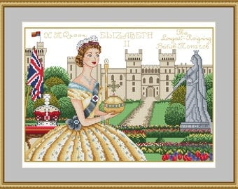 Long Live the Queen ! Windsor Castle London Historical Style Counted Cross Stitch Chart Pattern Instant Download