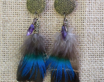 "Earrings blue-green feathers "" Oma """