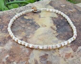 Hemp Choker, Puka Shell Jewelry, Natural Jewelry, Pink and Brown Puka Shells, Hemp Shell Choker, Shell Choker Necklace, Gift, Handmade, Hemp