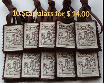 Catholic Scapular *10 Scapulars for 14.00 dollars* 100% Brown Wool Made in the U.S.A.