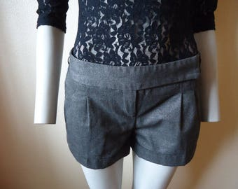 Black Grey Mini Shorts Waist Down Gray  Medium Size