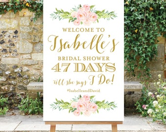 Countdown Sign, Bridal Shower Welcome Sign, Days Till She Says I Do Sign, Wedding Countdown, Printable, Digital File, The Dusty