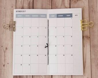 2017-18 Monthly planner, Fauxdori, Midori insert, Travelers notebook, Midori notebook, Fauxdori inserts, Midori refill, 2017 planner insert