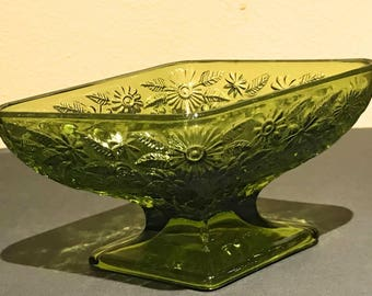 Vintage Indiana Glass Pineapple Floral Green Footed Candy Dish Diamond Shape