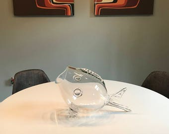 Mid Century Large BLENKO Winslow Anderson Clear Glass Fish Bowl