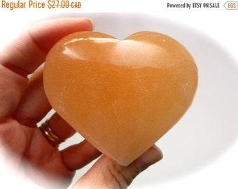 ONSALE Peach Orange Selenite Carved Crystal Heart 68mm 109g