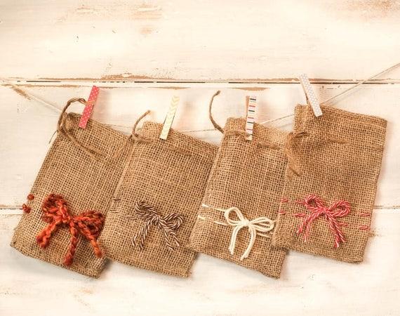 SET of FOUR FALL Burlap Bowed Bags and 3oz Mandarin & Clove Soap Bar | Choose Your Bag - Choose Your Tag!