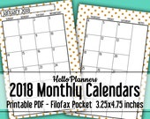 2018 Filofax Pocket Refill Monthly Calendar | 2018 Dated Calendar | Filofax Inserts | Month on 2 Pages | Printable Monthly Calendar | Gold